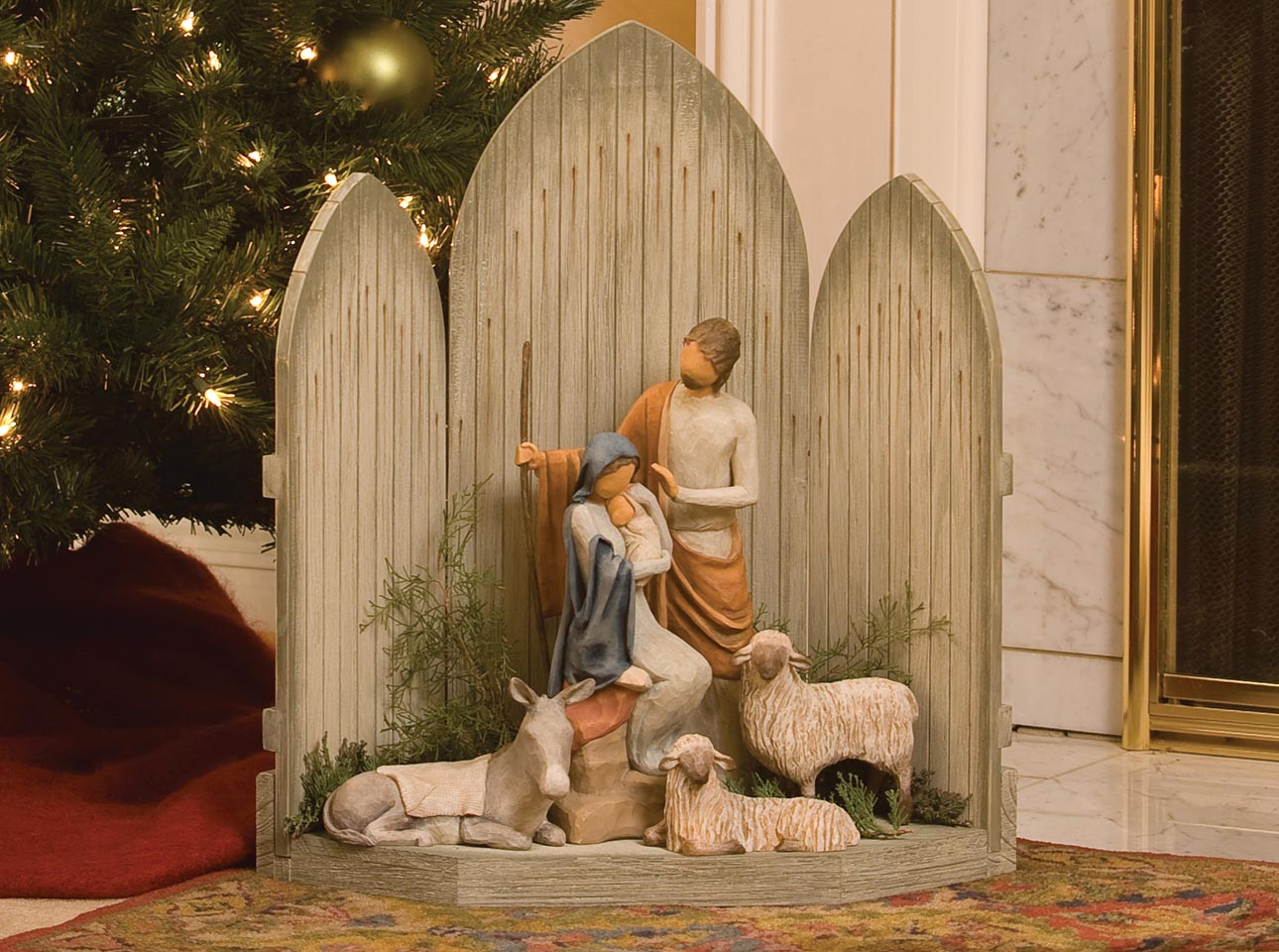 Christmas Stable Background.Nativity Set Displays Hand Sculpted Figures Willow Tree