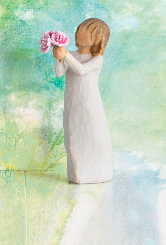 Thank You Figurine with Flowers